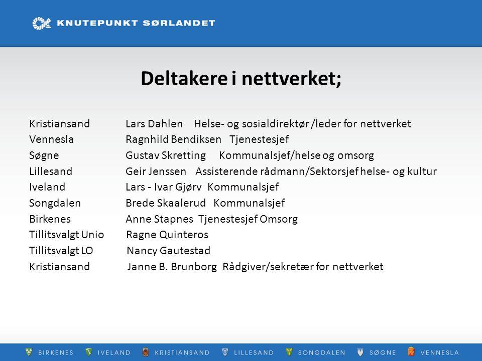Deltakere i nettverket; Kristiansand Lars Dahlen Helse- og sosialdirektør /leder for nettverket Vennesla Ragnhild Bendiksen Tjenestesjef Søgne Gustav