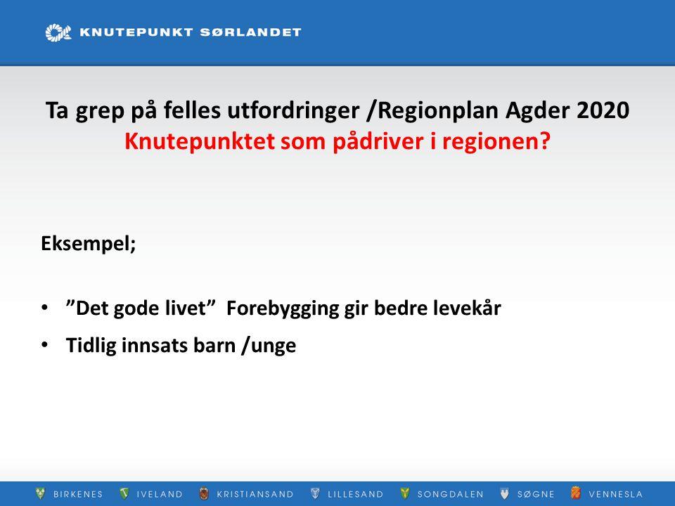 """Ta grep på felles utfordringer /Regionplan Agder 2020 Knutepunktet som pådriver i regionen? Eksempel; """"Det gode livet"""" Forebygging gir bedre levekår T"""