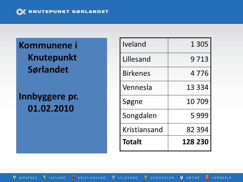 Kommunene i Knutepunkt Sørlandet Innbyggere pr. 01.02.2010 Iveland1 305 Lillesand9 713 Birkenes4 776 Vennesla13 334 Søgne10 709 Songdalen5 999 Kristia