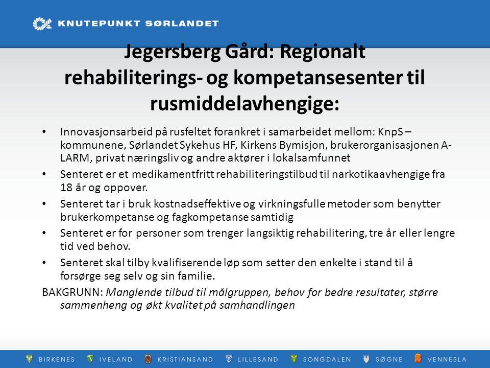 Jegersberg Gård: Regionalt rehabiliterings- og kompetansesenter til rusmiddelavhengige: Innovasjonsarbeid på rusfeltet forankret i samarbeidet mellom: