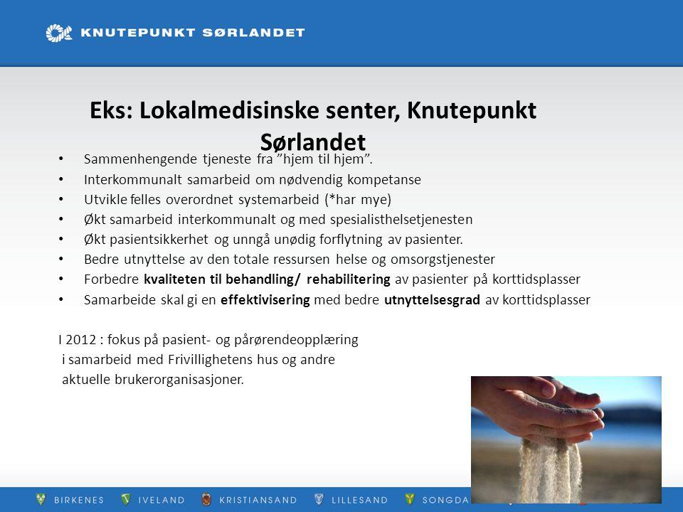 """Eks: Lokalmedisinske senter, Knutepunkt Sørlandet Sammenhengende tjeneste fra """"hjem til hjem"""". Interkommunalt samarbeid om nødvendig kompetanse Utvikl"""