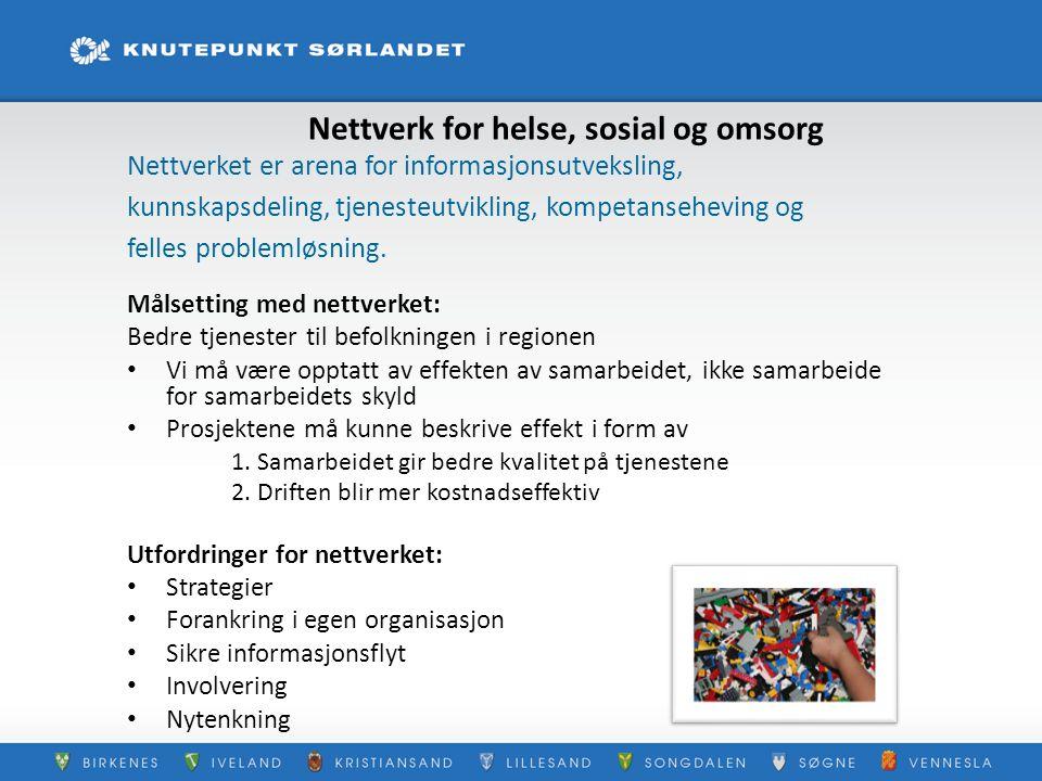 Nettverk for helse, sosial og omsorg Nettverket er arena for informasjonsutveksling, kunnskapsdeling, tjenesteutvikling, kompetanseheving og felles pr
