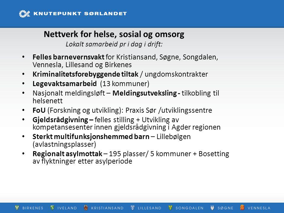 Nettverk for helse, sosial og omsorg Lokalt samarbeid pr i dag i drift: Felles barnevernsvakt for Kristiansand, Søgne, Songdalen, Vennesla, Lillesand