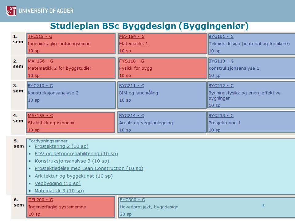 Studieplan BSc Byggdesign (Byggingeniør) 5