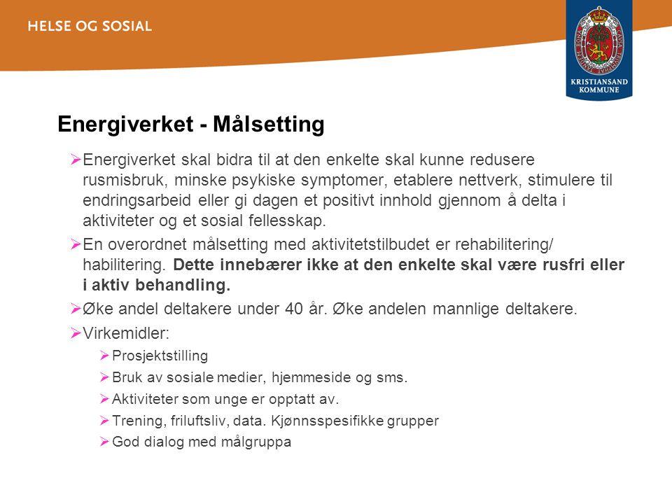 Oversikt 2012 121 Deltakere er kartlagt ved Energiverket og Bålplassen.