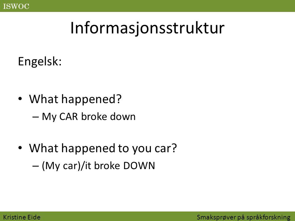 Informasjonsstruktur Portugisisk: Que aconteceu.