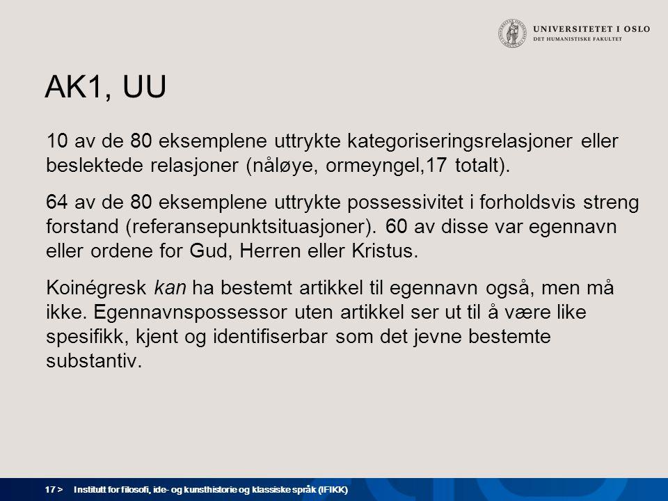 17 > Institutt for filosofi, ide- og kunsthistorie og klassiske språk (IFIKK) AK1, UU 10 av de 80 eksemplene uttrykte kategoriseringsrelasjoner eller