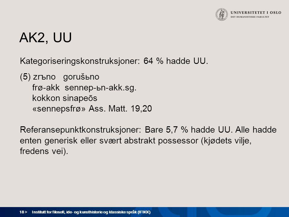 18 > Institutt for filosofi, ide- og kunsthistorie og klassiske språk (IFIKK) AK2, UU Kategoriseringskonstruksjoner: 64 % hadde UU.