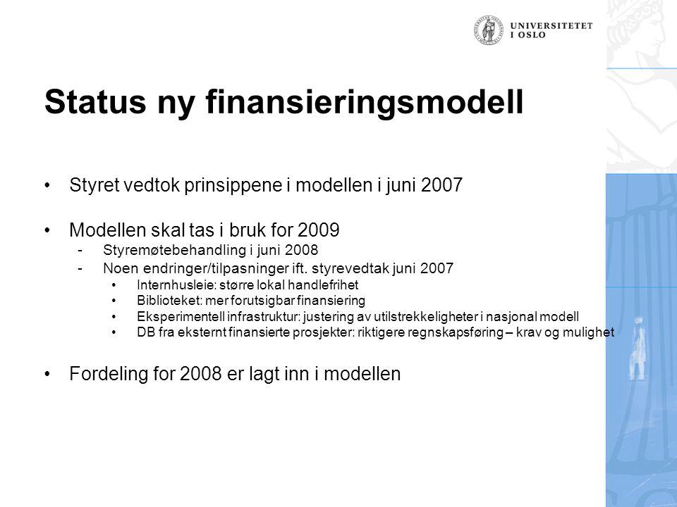 Status ny finansieringsmodell Styret vedtok prinsippene i modellen i juni 2007 Modellen skal tas i bruk for 2009 -Styremøtebehandling i juni 2008 -Noen endringer/tilpasninger ift.