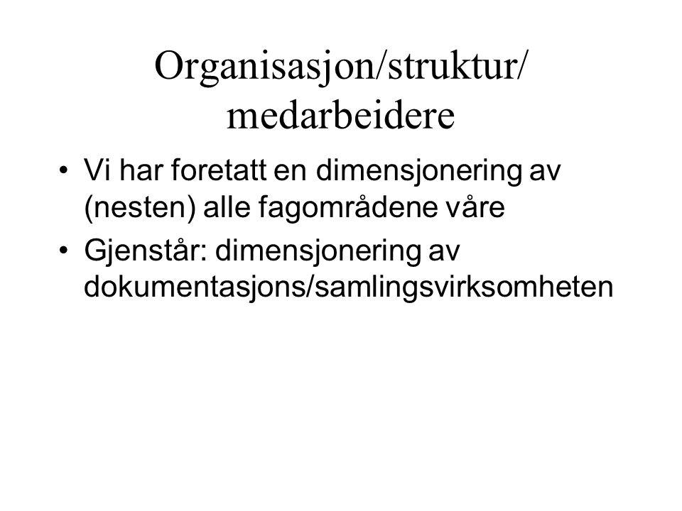 Organisasjon/struktur/ medarbeidere Vi har foretatt en dimensjonering av (nesten) alle fagområdene våre Gjenstår: dimensjonering av dokumentasjons/samlingsvirksomheten