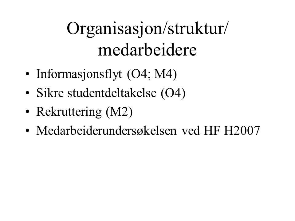 Informasjonsflyt (O4; M4) Sikre studentdeltakelse (O4) Rekruttering (M2) Medarbeiderundersøkelsen ved HF H2007