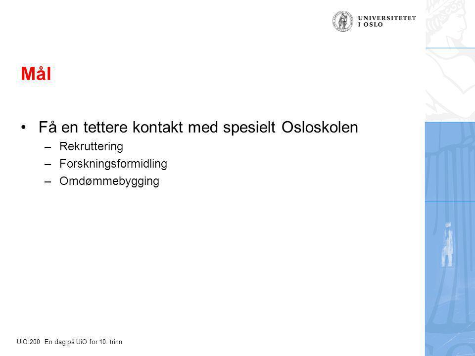 UiO:200 En dag på UiO for 10. trinn Mål Få en tettere kontakt med spesielt Osloskolen –Rekruttering –Forskningsformidling –Omdømmebygging
