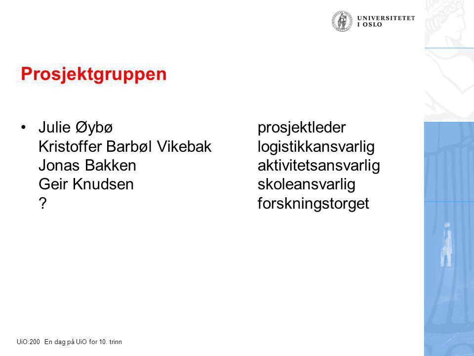 UiO:200 En dag på UiO for 10. trinn Prosjektgruppen Julie Øybøprosjektleder Kristoffer Barbøl Vikebaklogistikkansvarlig Jonas Bakkenaktivitetsansvarli