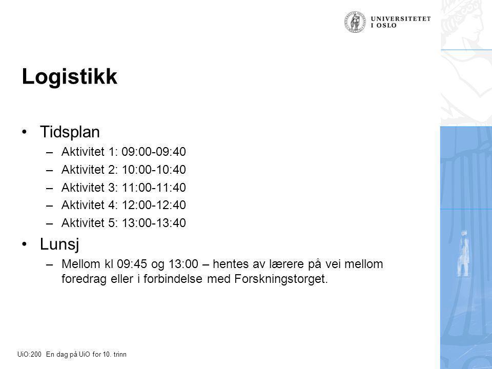 UiO:200 En dag på UiO for 10. trinn Logistikk Tidsplan –Aktivitet 1: 09:00-09:40 –Aktivitet 2: 10:00-10:40 –Aktivitet 3: 11:00-11:40 –Aktivitet 4: 12: