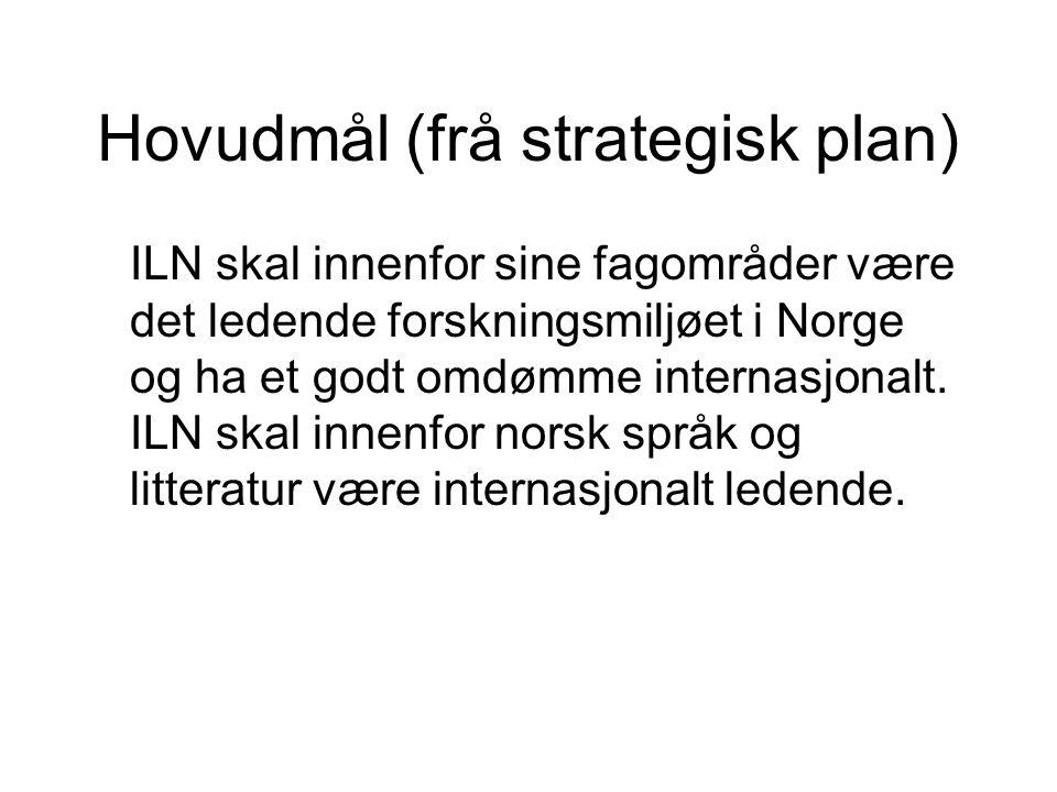 Hovudmål (frå strategisk plan) ILN skal innenfor sine fagområder være det ledende forskningsmiljøet i Norge og ha et godt omdømme internasjonalt.