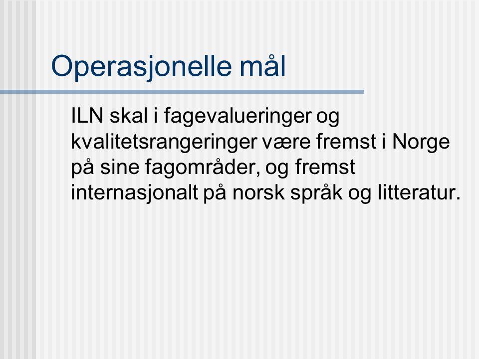 Operasjonelle mål ILN skal i fagevalueringer og kvalitetsrangeringer være fremst i Norge på sine fagområder, og fremst internasjonalt på norsk språk og litteratur.