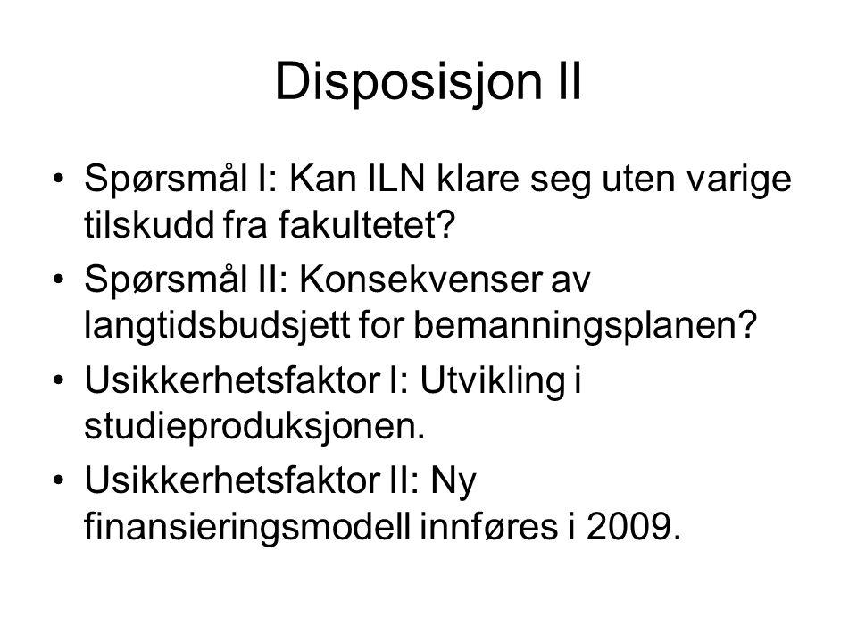 Disposisjon II Spørsmål I: Kan ILN klare seg uten varige tilskudd fra fakultetet.