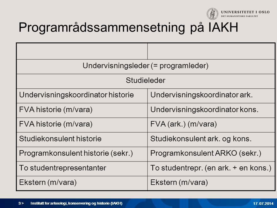 3 > Institutt for arkeologi, konservering og historie (IAKH) 17.07.2014 Programrådssammensetning på IAKH Undervisningsleder (= programleder) Studieled