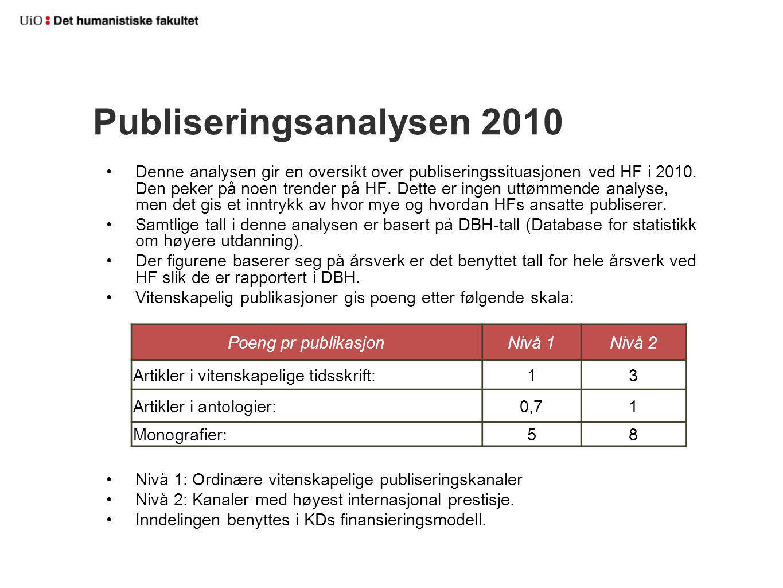 Hovedtrekk 2005 - 2010 Nedgang fra 2009 Samlet tellende publisering faller med 2,9% Nivå-1-poeng faller med 17,4% Nivå-2-poeng øker med 25,5%