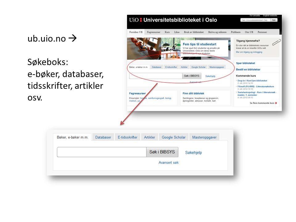 ub.uio.no  Søkeboks: e-bøker, databaser, tidsskrifter, artikler osv.