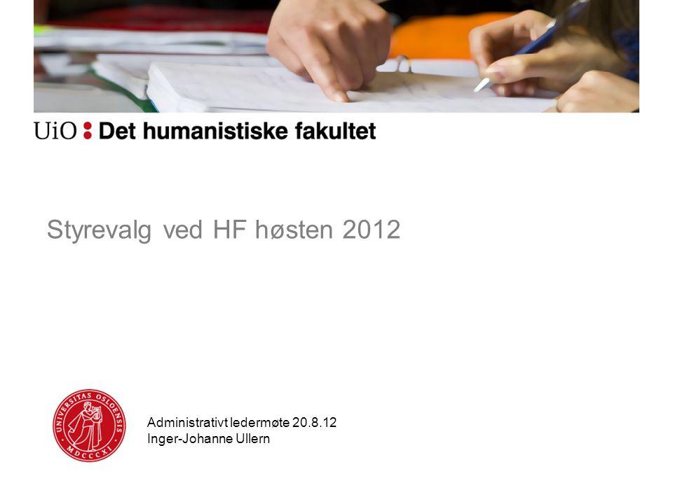 Styrevalg ved HF høsten 2012 Administrativt ledermøte 20.8.12 Inger-Johanne Ullern