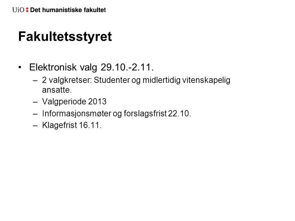 Fakultetsstyret Elektronisk valg 29.10.-2.11.