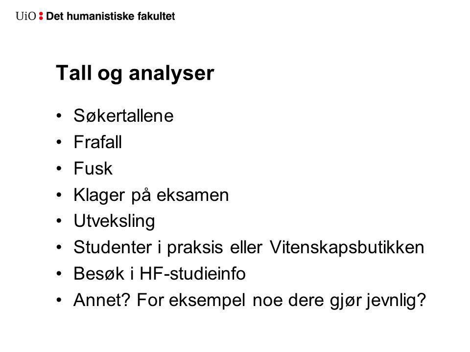 Tall og analyser Søkertallene Frafall Fusk Klager på eksamen Utveksling Studenter i praksis eller Vitenskapsbutikken Besøk i HF-studieinfo Annet.