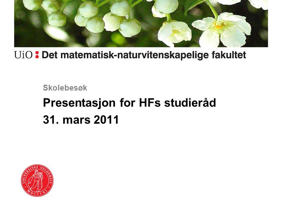 Skolebesøk Presentasjon for HFs studieråd 31. mars 2011