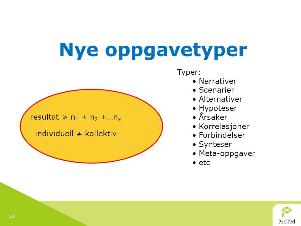 30 Nye oppgavetyper resultat > n 1 + n 2 +…n x individuell ≠ kollektiv Typer: Narrativer Scenarier Alternativer Hypoteser Årsaker Korrelasjoner Forbin