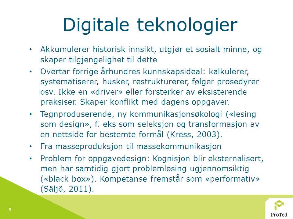 9 Digitale teknologier Akkumulerer historisk innsikt, utgjør et sosialt minne, og skaper tilgjengelighet til dette Overtar forrige århundres kunnskaps