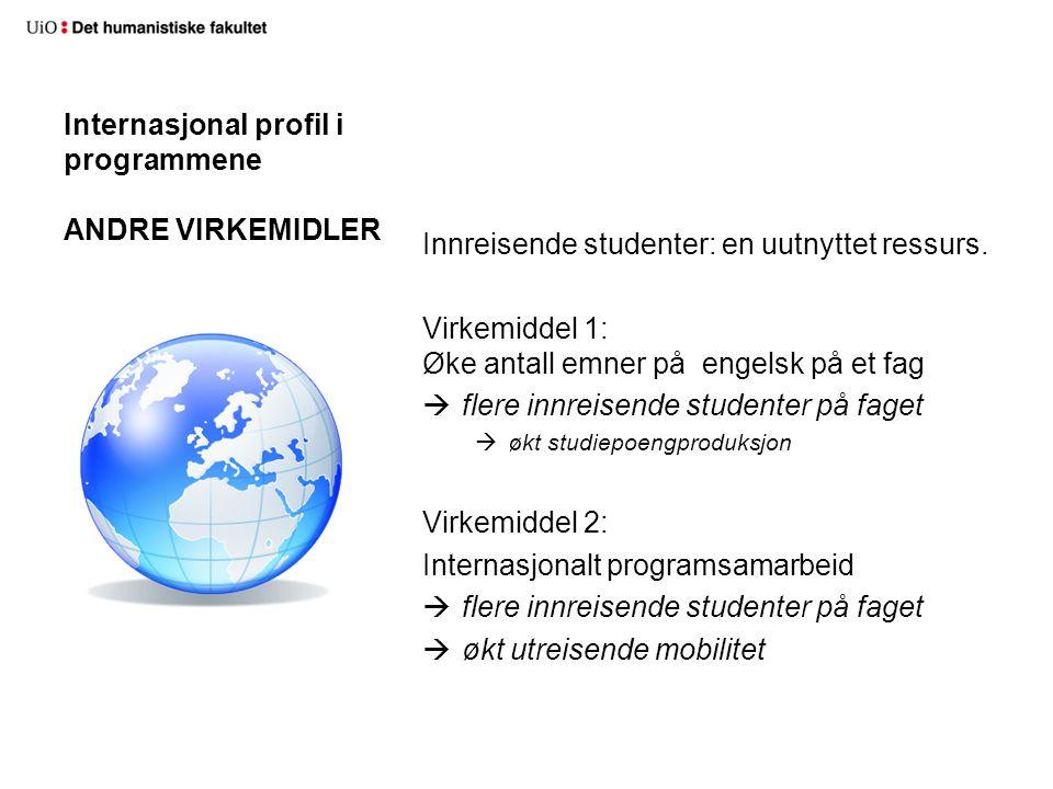 Internasjonal profil i programmene ANDRE VIRKEMIDLER Innreisende studenter: en uutnyttet ressurs.