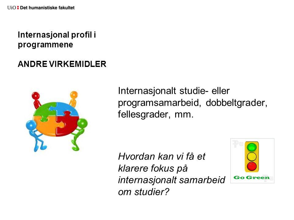 Internasjonal profil i programmene ANDRE VIRKEMIDLER Internasjonalt studie- eller programsamarbeid, dobbeltgrader, fellesgrader, mm.