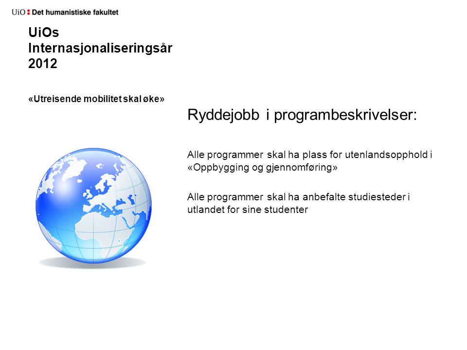 UiOs Internasjonaliseringsår 2012 Ryddejobb i programbeskrivelser: Alle programmer skal ha plass for utenlandsopphold i «Oppbygging og gjennomføring» Alle programmer skal ha anbefalte studiesteder i utlandet for sine studenter «Utreisende mobilitet skal øke»