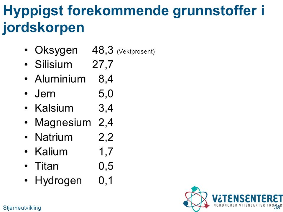 Stjerneutvikling 38 Hyppigst forekommende grunnstoffer i jordskorpen Oksygen 48,3 (Vektprosent) Silisium27,7 Aluminium8,4 Jern5,0 Kalsium3,4 Magnesium