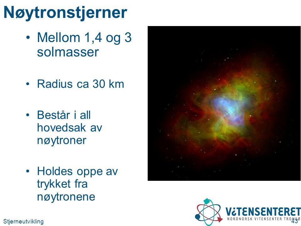 Stjerneutvikling 43 Nøytronstjerner Mellom 1,4 og 3 solmasser Radius ca 30 km Består i all hovedsak av nøytroner Holdes oppe av trykket fra nøytronene