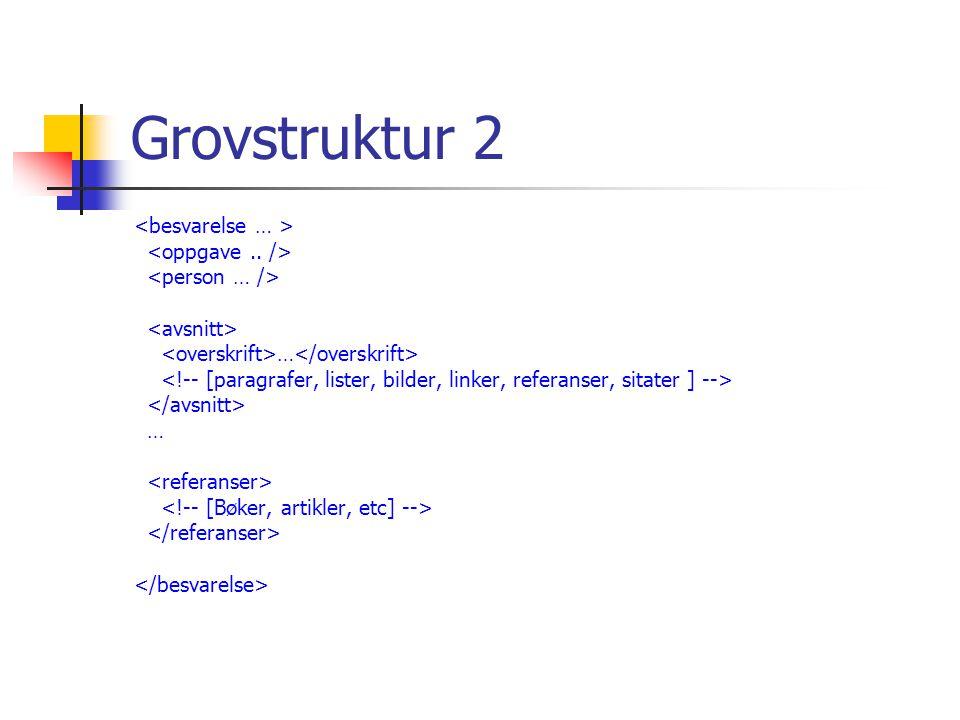 Ressurser Eksempelbesvarelsen (View Source!) http://www.ifi.uio.no/~inf5270/v2006/eksempel/skissebesvarelse.xml XML Schemaet http://www.ifi.uio.no/~inf5270/v2006/besvarelse01.xsd XSLT-stilarket http://www.ifi.uio.no/~inf5270/v2006/besvarelse.xsl