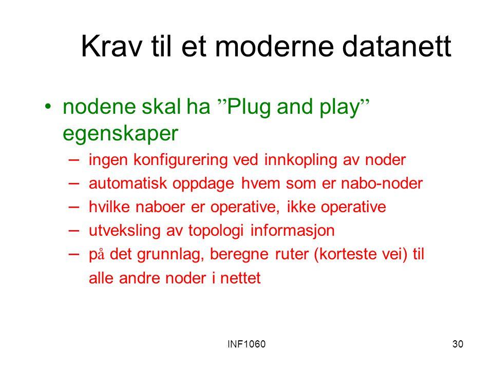 """INF106030 Krav til et moderne datanett nodene skal ha """" Plug and play """" egenskaper – ingen konfigurering ved innkopling av noder – automatisk oppdage"""