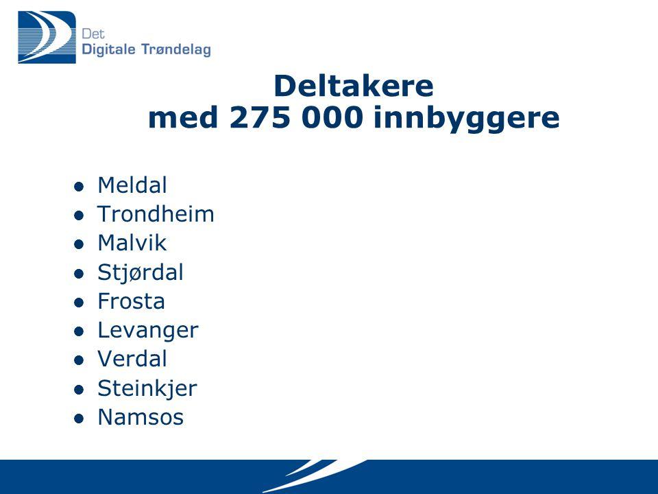 Deltakere med 275 000 innbyggere Meldal Trondheim Malvik Stjørdal Frosta Levanger Verdal Steinkjer Namsos