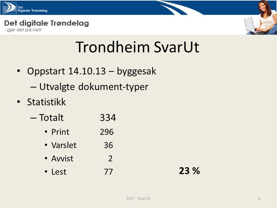 Trondheim SvarUt Oppstart 14.10.13 – byggesak – Utvalgte dokument-typer Statistikk – Totalt 334 Print296 Varslet 36 Avvist 2 Lest 77 DDT - SvarUt2 23