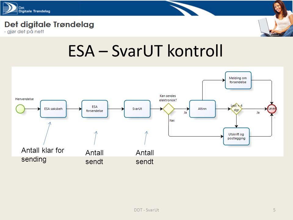 ESA – SvarUT kontroll DDT - SvarUt5 Antall sendt Antall klar for sending Antall sendt