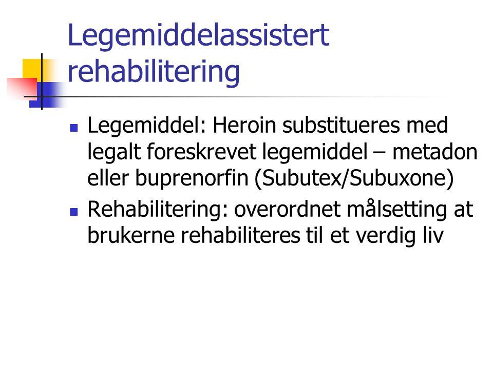 Legemiddelassistert rehabilitering Legemiddel: Heroin substitueres med legalt foreskrevet legemiddel – metadon eller buprenorfin (Subutex/Subuxone) Rehabilitering: overordnet målsetting at brukerne rehabiliteres til et verdig liv