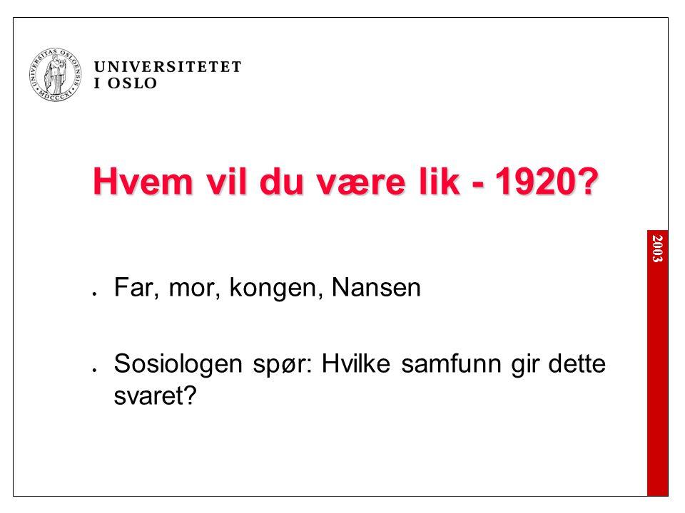 2003 Hvem vil du være lik - 1920? Far, mor, kongen, Nansen Sosiologen spør: Hvilke samfunn gir dette svaret?