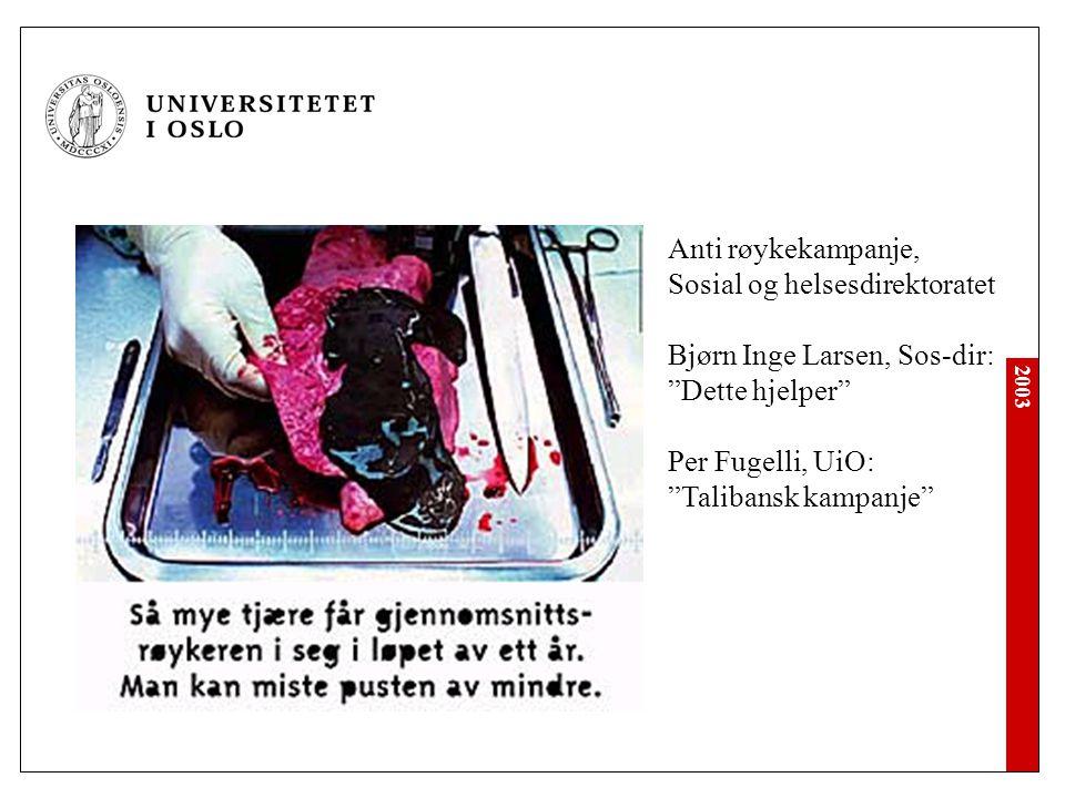 """2003 Anti røykekampanje, Sosial og helsesdirektoratet Bjørn Inge Larsen, Sos-dir: """"Dette hjelper"""" Per Fugelli, UiO: """"Talibansk kampanje"""""""