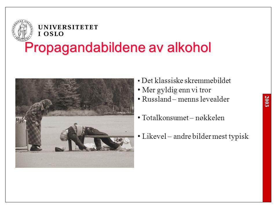 2003 Propagandabildene av alkohol Det klassiske skremmebildet Mer gyldig enn vi tror Russland – menns levealder Totalkonsumet – nøkkelen Likevel – and