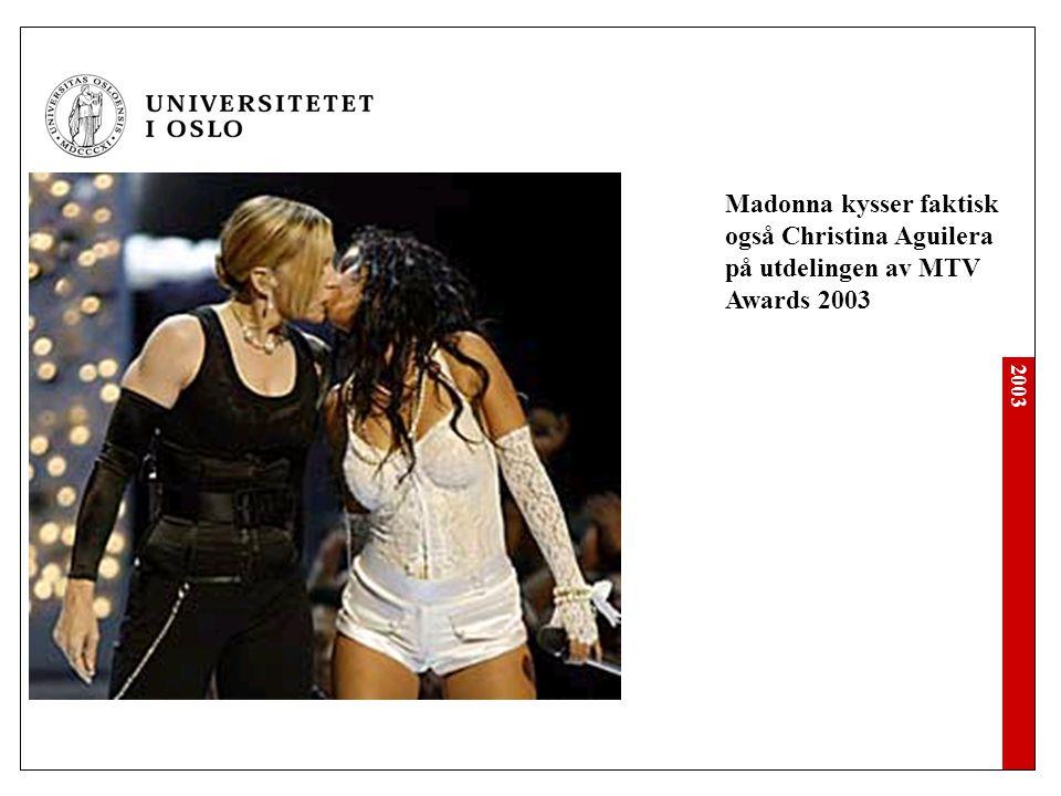 2003 Aqua-Lene kysser Dorthe Skappel i God Kveld Norge på TV 2, ca 2 mnd etter Madonna