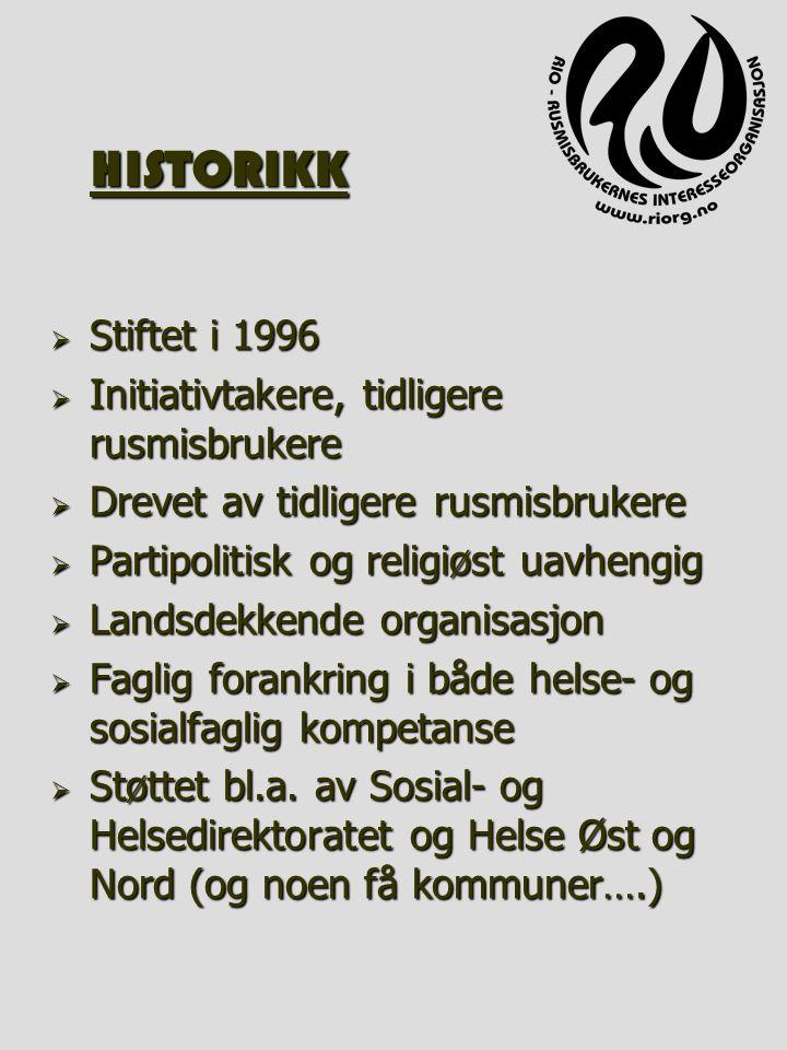 HISTORIKK  Stiftet i 1996  Initiativtakere, tidligere rusmisbrukere  Drevet av tidligere rusmisbrukere  Partipolitisk og religiøst uavhengig  Lan