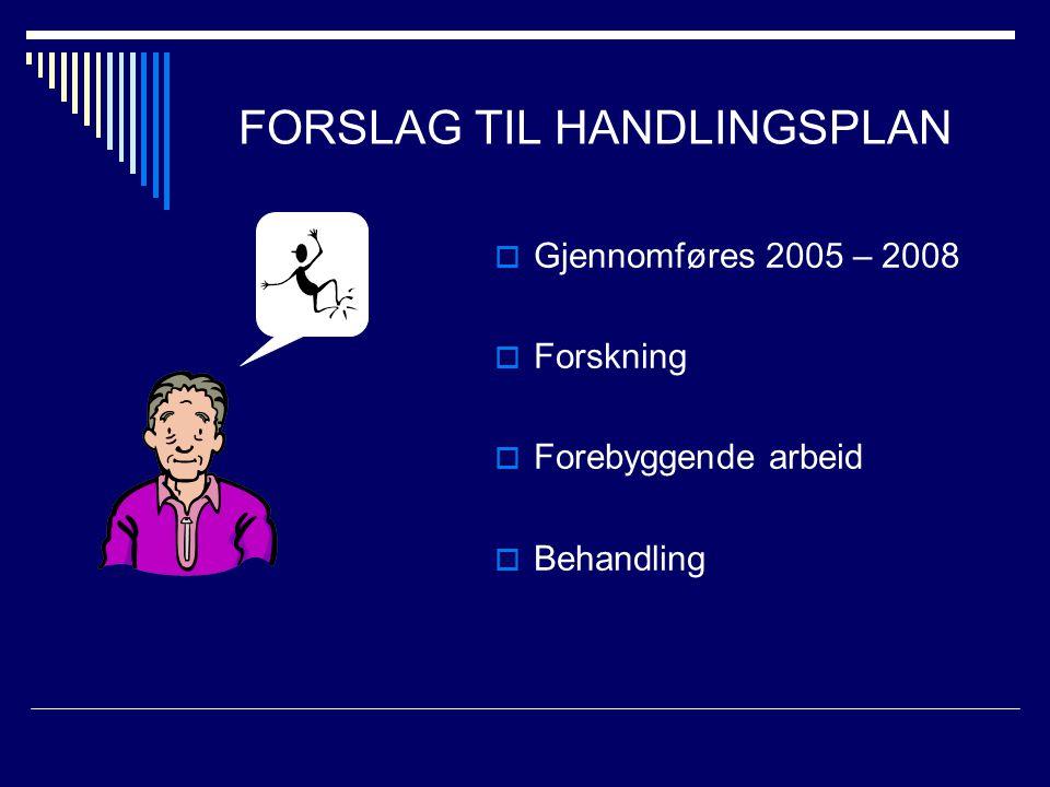 FORSLAG TIL HANDLINGSPLAN  Gjennomføres 2005 – 2008  Forskning  Forebyggende arbeid  Behandling