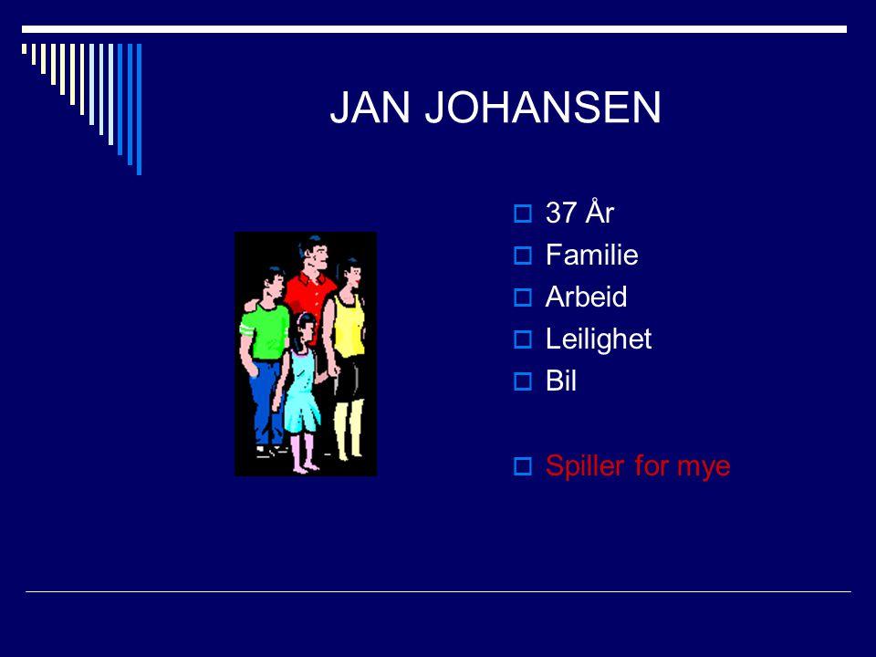 JAN JOHANSEN  37 År  Familie  Arbeid  Leilighet  Bil  Spiller for mye
