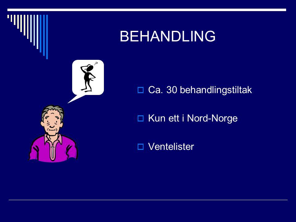 BEHANDLING  Ca. 30 behandlingstiltak  Kun ett i Nord-Norge  Ventelister