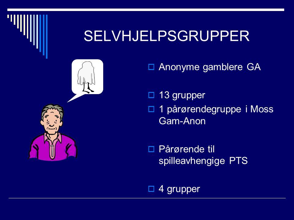 SELVHJELPSGRUPPER  Anonyme gamblere GA  13 grupper  1 pårørendegruppe i Moss Gam-Anon  Pårørende til spilleavhengige PTS  4 grupper